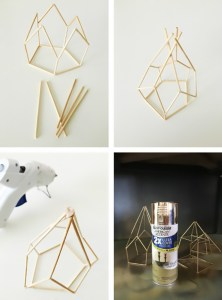 diy geometric metallic tealight holders make from skewers! via ajoyfulriot.com