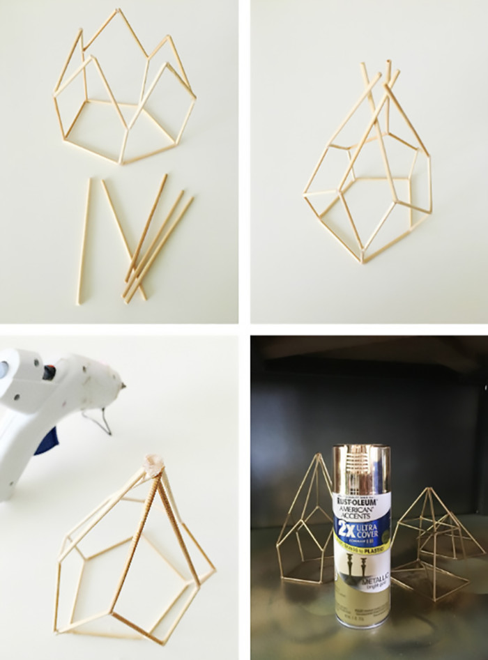 diy metallic geometric candle holders make from skewers! via ajoyfulriot.com