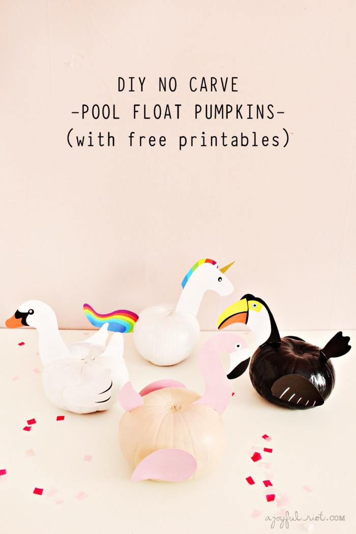 DIY these fun no-carve pool float pumpkins for Halloween and keep summer vibes around a little bit longer! | A Joyful Riot