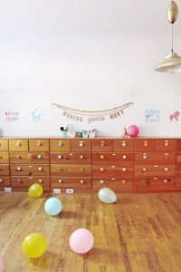 Bright and colorful craft room office studio for A Joyful Riot-11