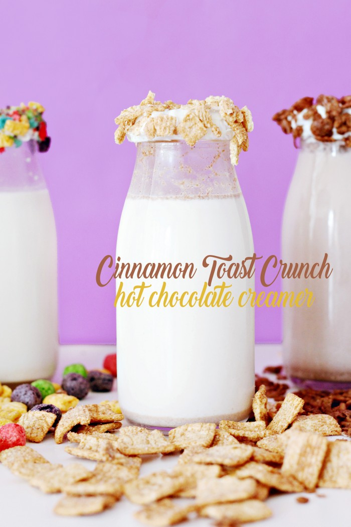 Cinnamon Toast Crunch coffee and hot cocoa creamers! Cereal milk creamers will make all your latte dreams come true.
