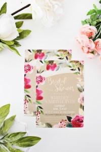 Floral wreath gold foil bridal shower invitation