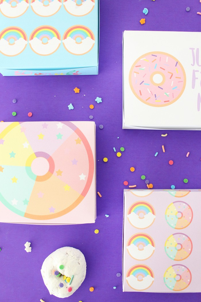 free printable donut boxes fit 4 mini donettes perfectly and come in 6 fun and trendy styles from A Joyful Riot