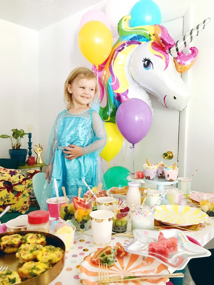 A magical rainbow unicorn birthday breakfast with lots of colorful food ideas