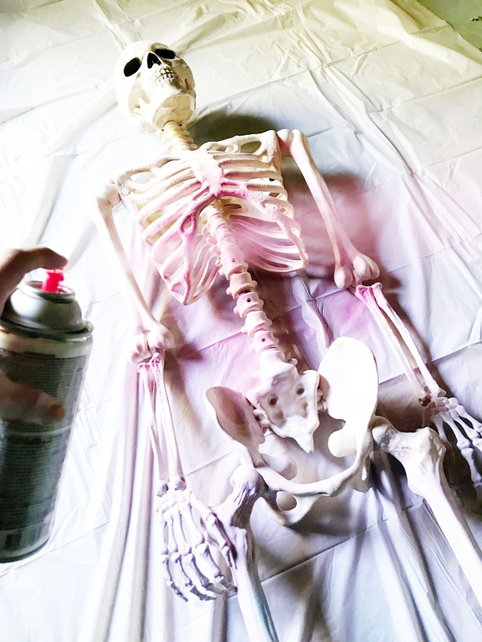 Make a colorful ombre skeleton for Halloween in just one quick step!