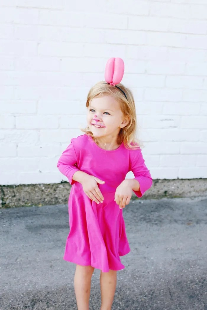 pink balloon dog halloween costume for little girl DIY