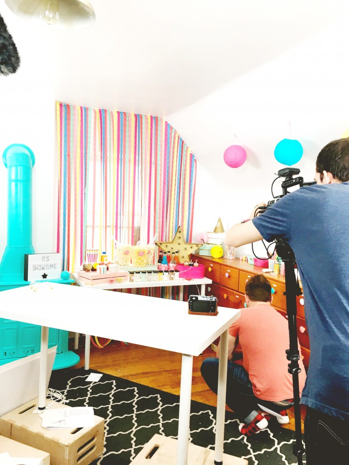 Behind the scenes filming of Party Starters! How to Throw a Movie Night Party