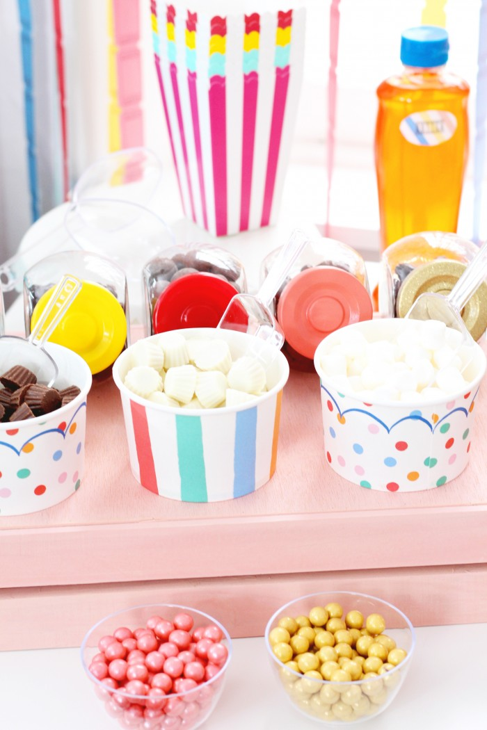 fun candy toppings for a popcorn buffet