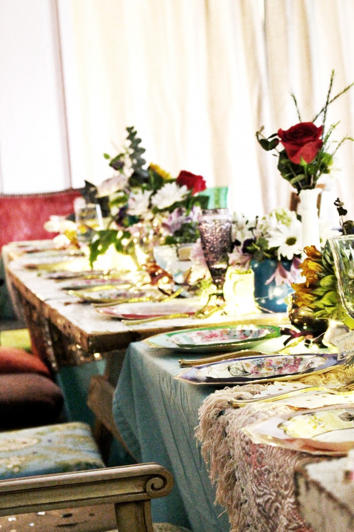 mixed tables and tablecloths with colored vintage glasses
