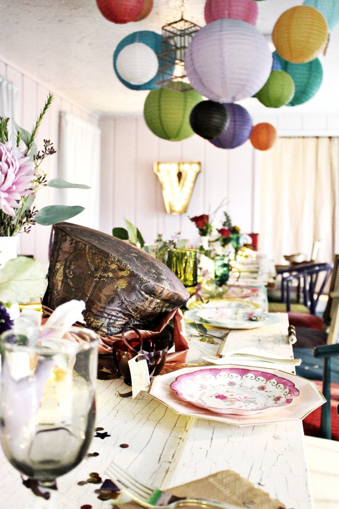 Tim Burton Mad Hatter's Hat tea party centerpiece and paper lanterns above table