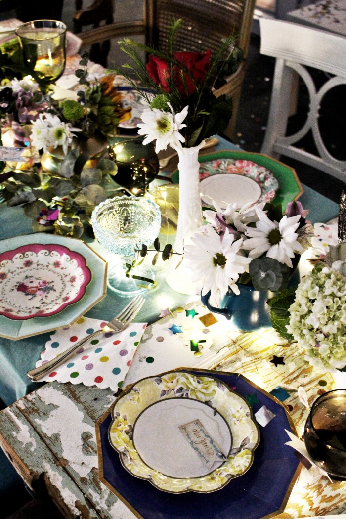 mixed colored glass cups truly scrumptious truly alice plates gold utensils teapot centerpiece & Colorful Vintage Mad Hatteru0027s Tea Party | A Joyful Riot