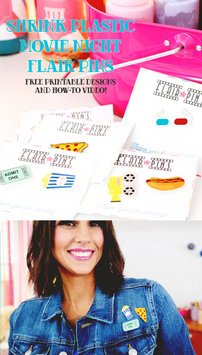 DIY shrink plastic flair pins with movie themes like pizza and popcorn! Free designs to print yourself, how-to video and free printable cards to handing out to guests!