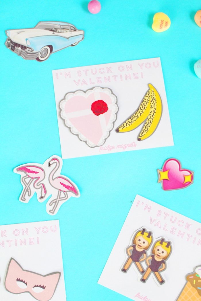 Print out these cute Valentine flair magnets for a non candy valentine!