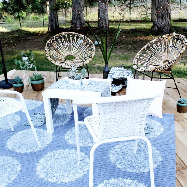 DIY Outdoor Rug with Spray Paint and Stencil Revolution