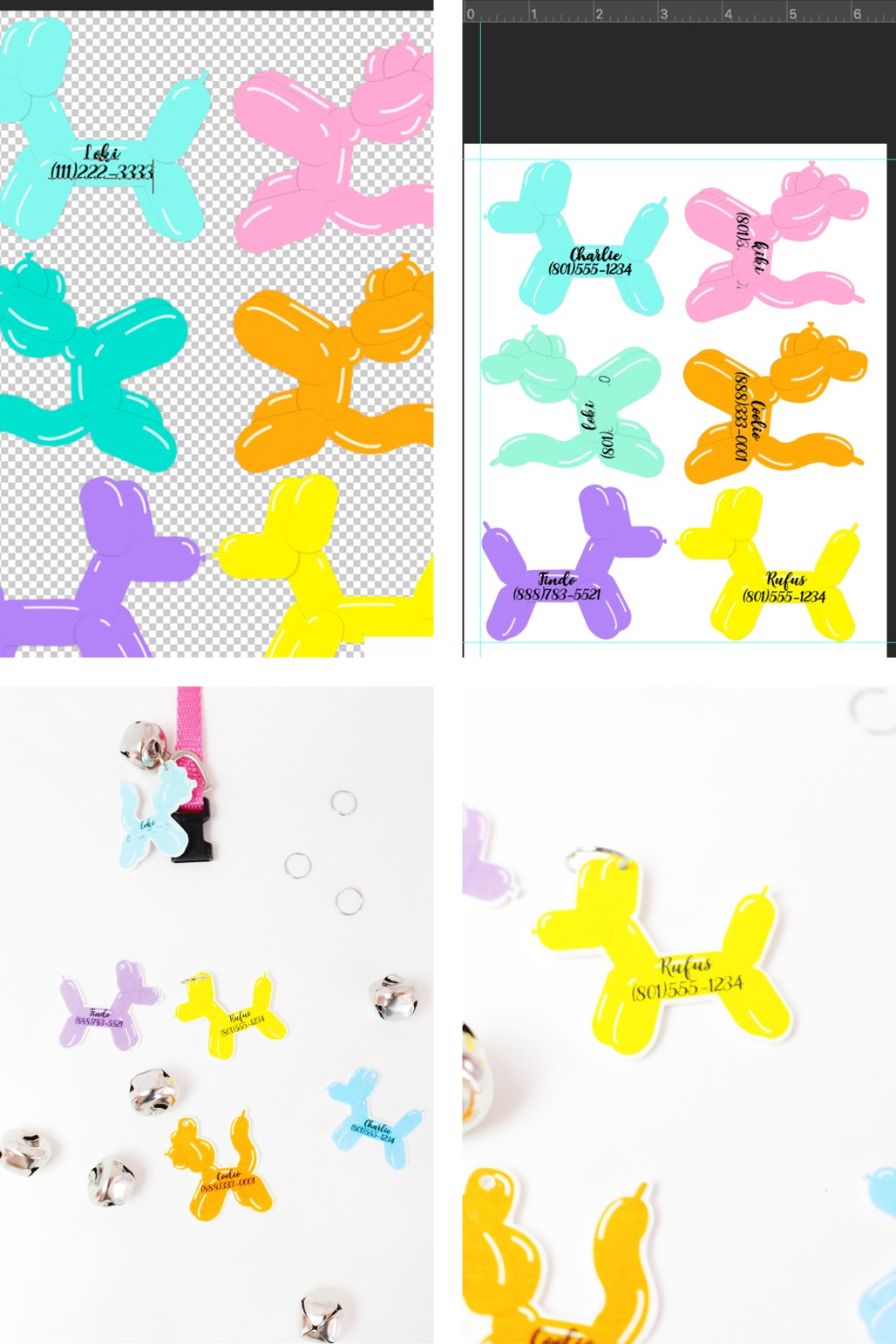 Free Balloon Animal Clipart files to make easy shrink plastic pet tags!
