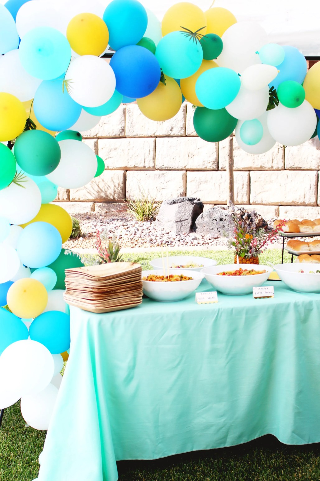 turquoise, green, and gold modern tropical party