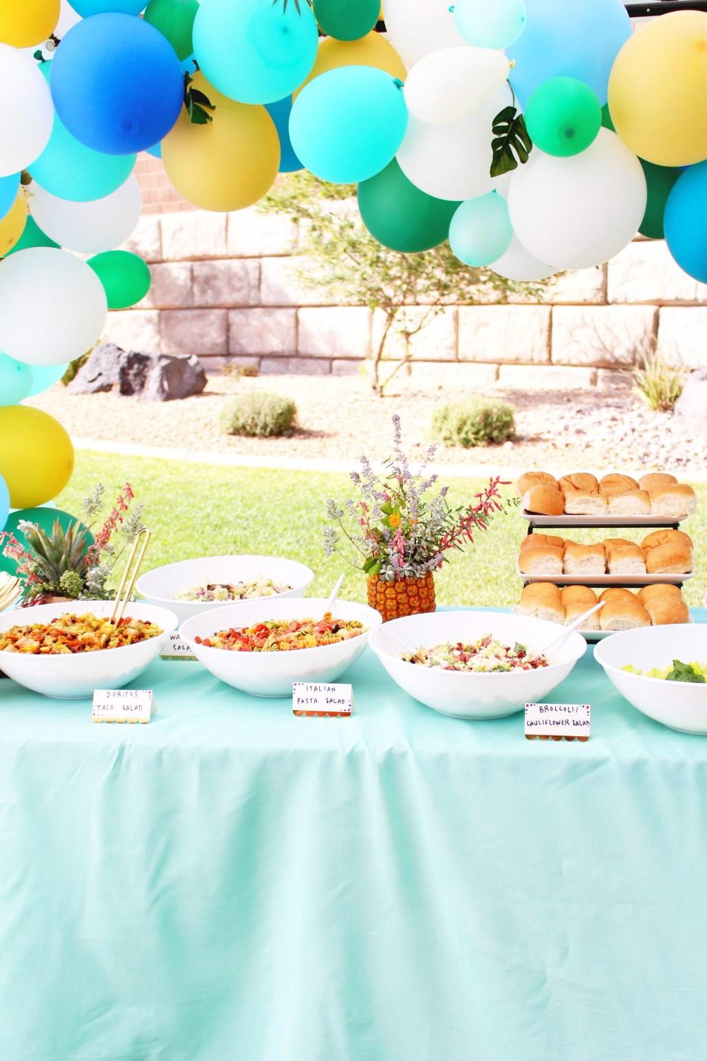 Modern Tropical 80th Birthday Party salad bar