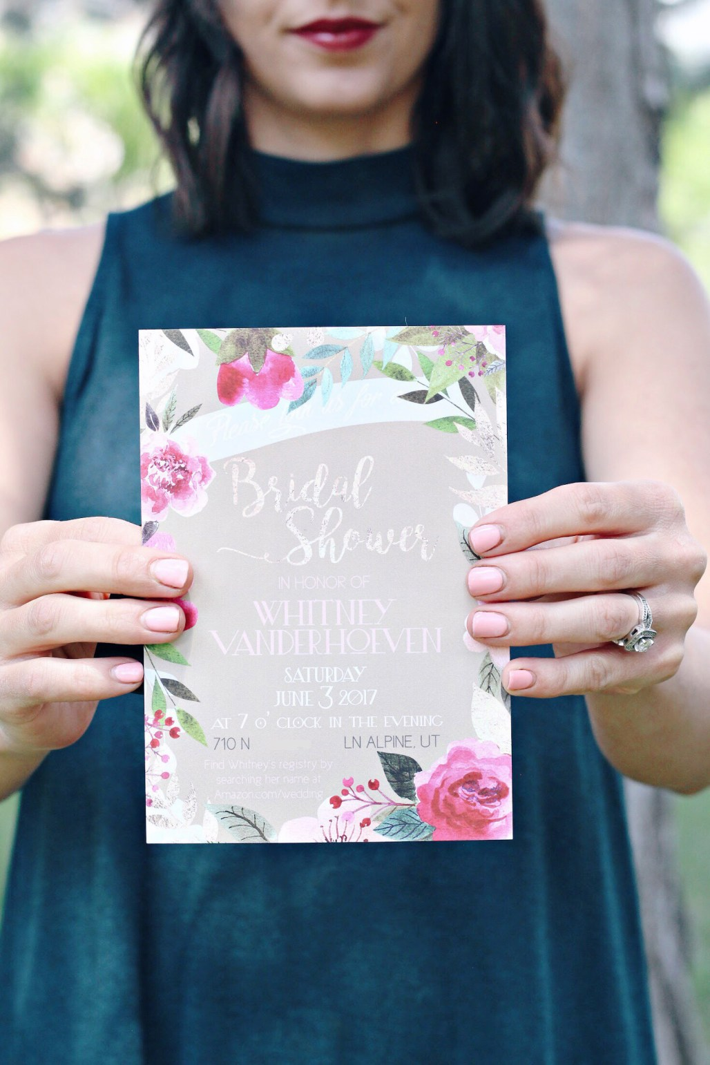 custom pink and rose gold bridal shower invitation with floral wreath and gold foil