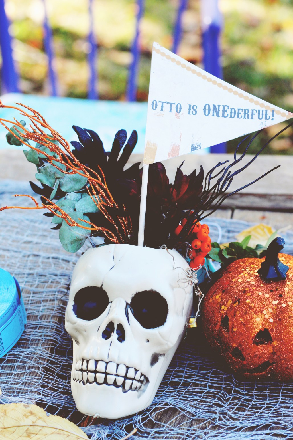 halloween carnival birthday party skull with floral centerpiece