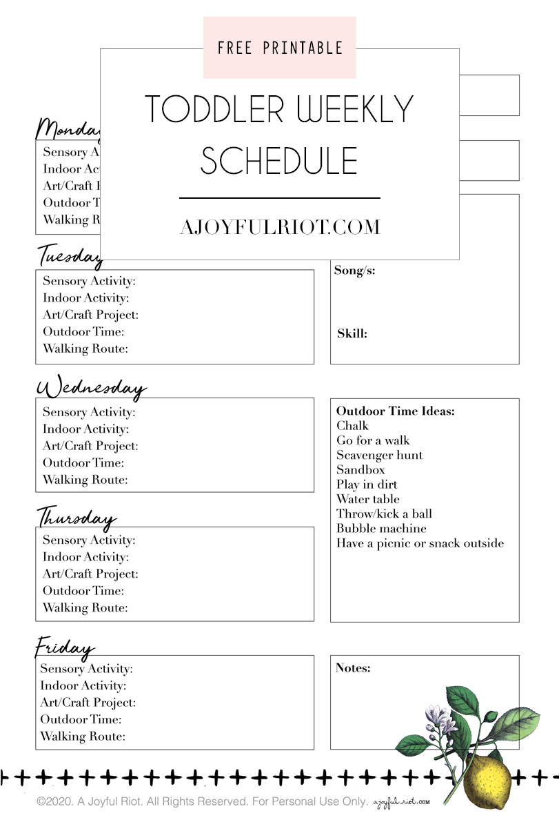 Weekly Toddler Schedule