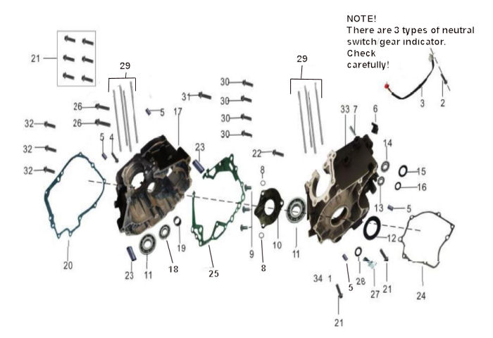 CRANKCASES, GASKETS, NEUTRAL SWITCH