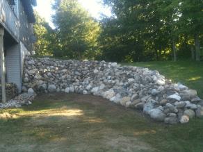 Inland rock wall