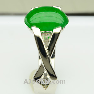 2.39 ct Imperial Jade Ring in Platinum, side view