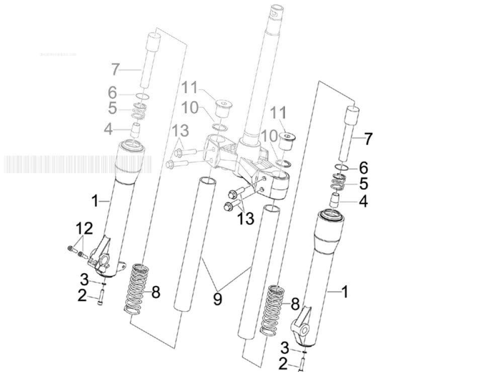 Piaggio Beverly 250 Cruiser (Euro 3) Fork S Components (mvp)