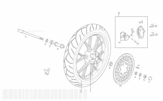 Derbi GPR50 RACING Front Wheel