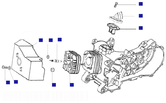 Vespa LX50 2T Cylinder Head-cooling Hood-inlet And