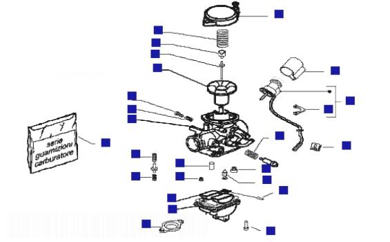 Piaggio Fly 100 4T Carburetor Components