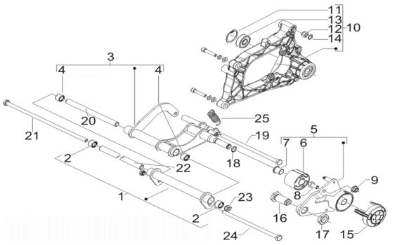 Piaggio X7 250 (Euro 3) Swinging Arm