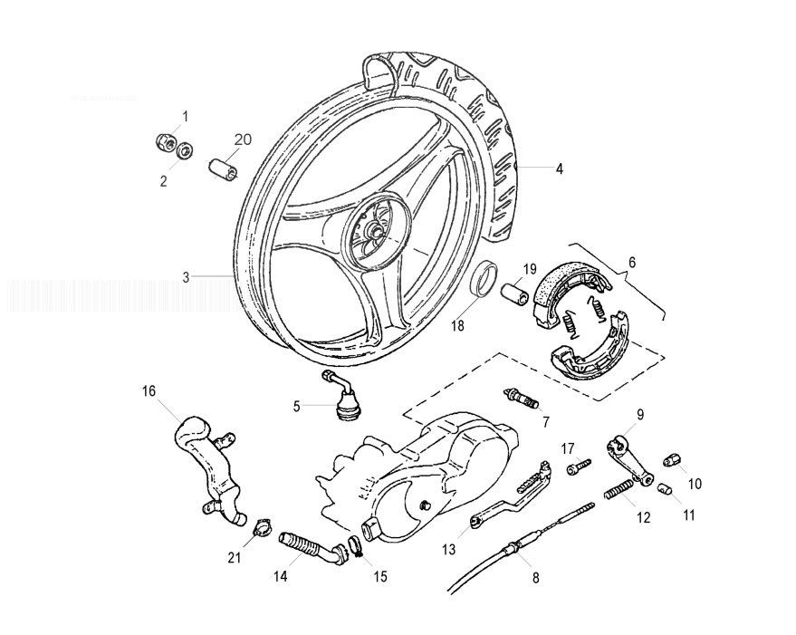 MALAGUTI CIAK 125 4T (Euro 2) Rear Wheel & Brake System