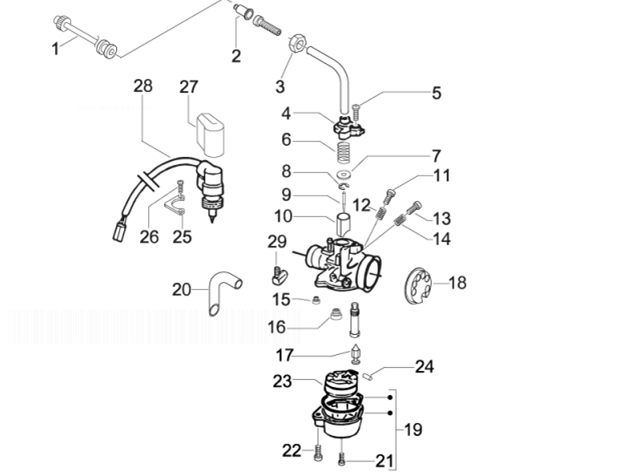 Gilera Stalker Carburetor's Components