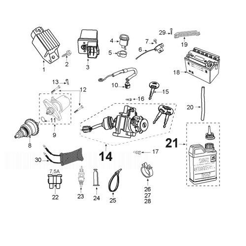PEUGEOT KISBEE 50 Electric Equipment