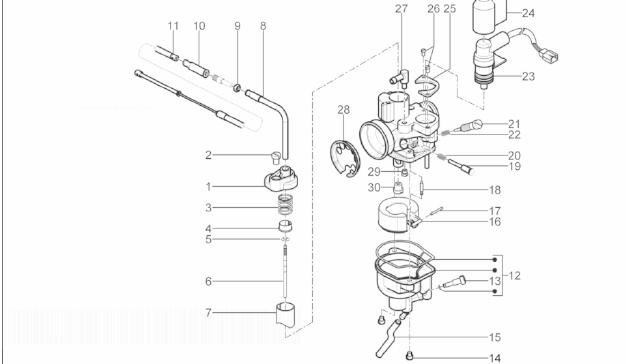 Piaggio Typhoon 50 Carburetor's Components