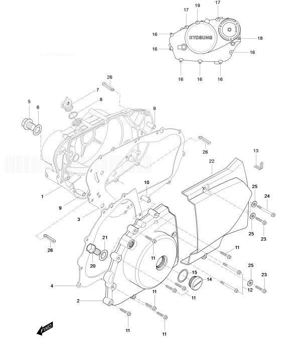 HYOSUNG GT125R COMET Crank Case Cover