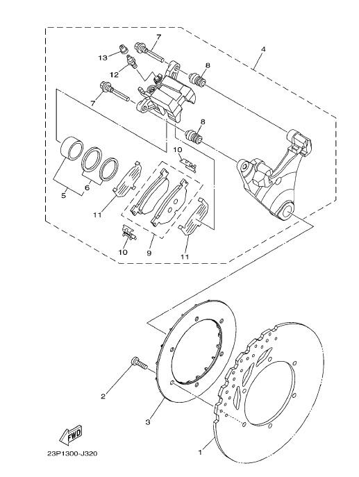 YAMAHA XT1200Z SUPER TENERE Rear Brake Caliper