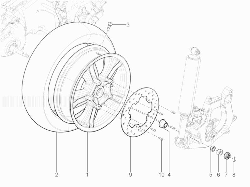 Piaggio MP3 300 YOUrban ERL Rear Wheel