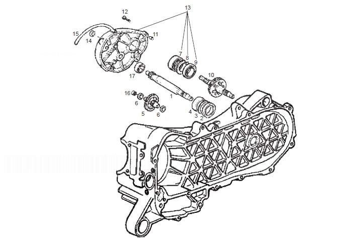 Derbi Atlantis 50-100 4T E2 Rear Wheel Shaft 100CC