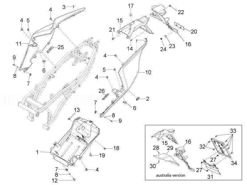 APRILIA RS4 125 4T Rear Covers