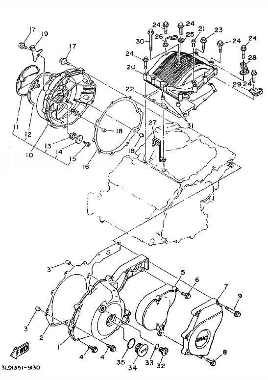 YAMAHA XTZ750 SUPER TENERE Crankcase Cover 1