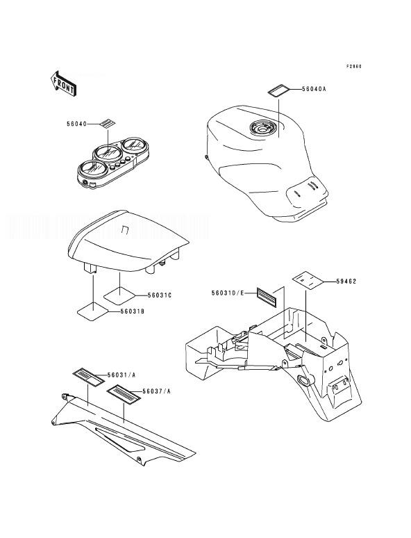 KAWASAKI ZX9R B1 Labels