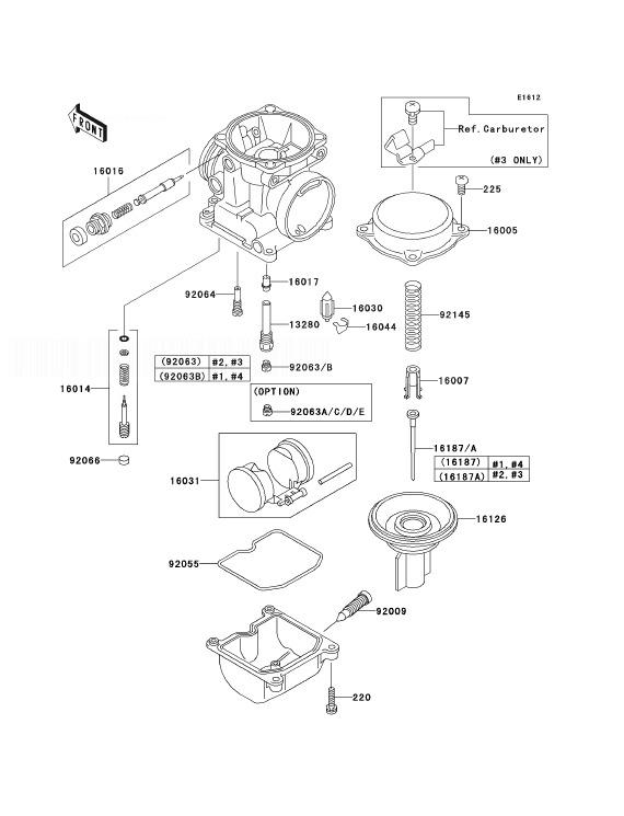 KAWASAKI ZRX1200R A1P Carburetor Parts