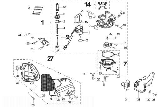 PEUGEOT METAL-X 50cc Air Filter And Carburettor