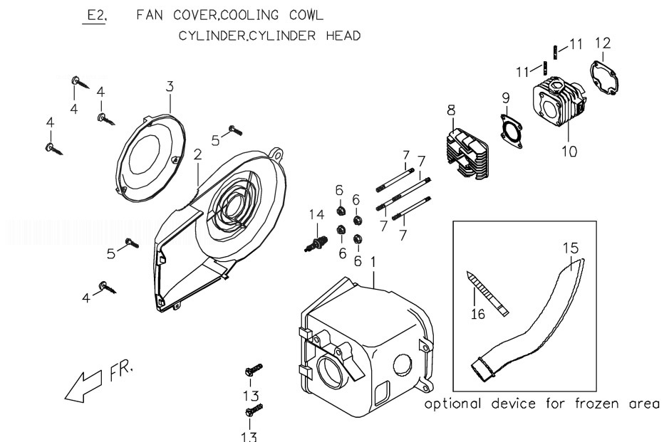 PGO PMX 50 Fan Cover.Cooling Cowl.Cylinder.Cylinder Head