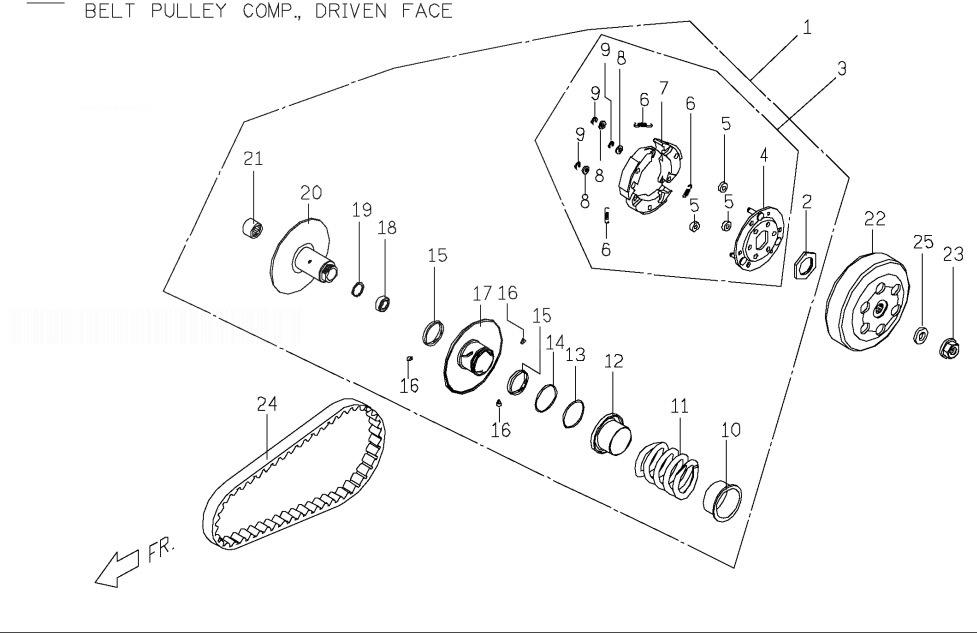 PGO T-REX 50 Belt Pulley Comp. Driven Face
