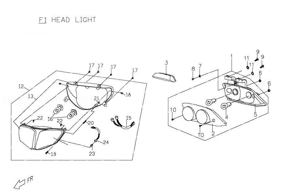 PGO T-REX 125 Head Lamp