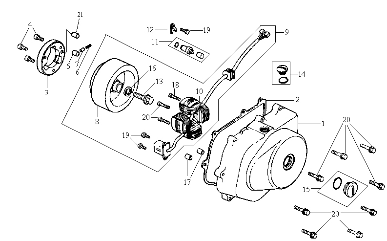SYM HUSKY 125 Crankcase Cover. A.C. Generator