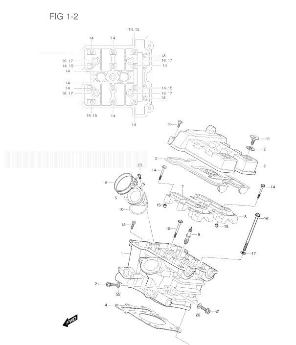 HYOSUNG GT650R COMET Cylinder Head/(rear)